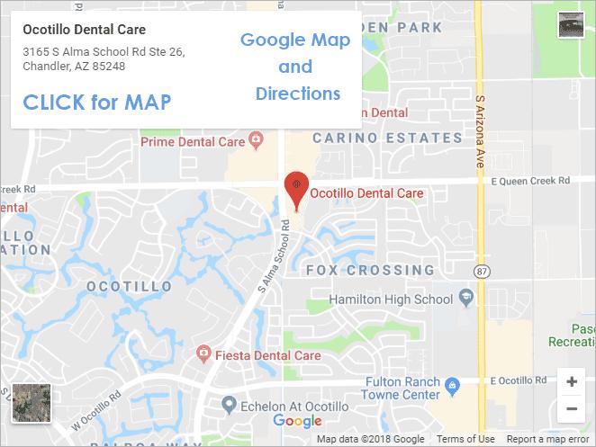 Map of Ocotillo Dental Care, Chandler, AZ 85248